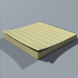 3d stickynote pad note model