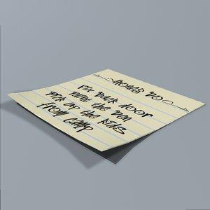 sticky note 3d model