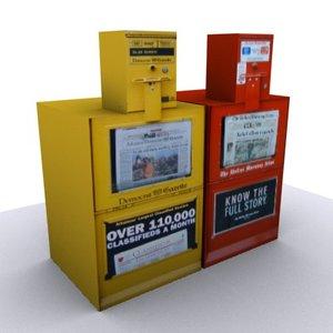 3d newspaper vending machines newsstand