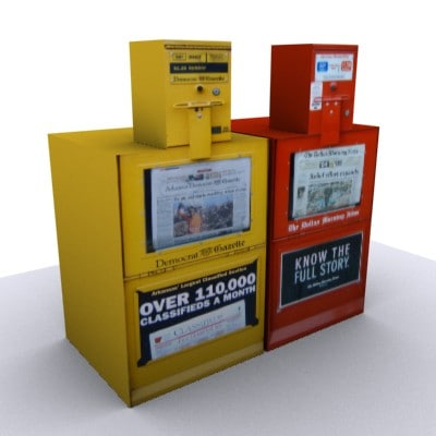 3d newspaper vending machines newsstand