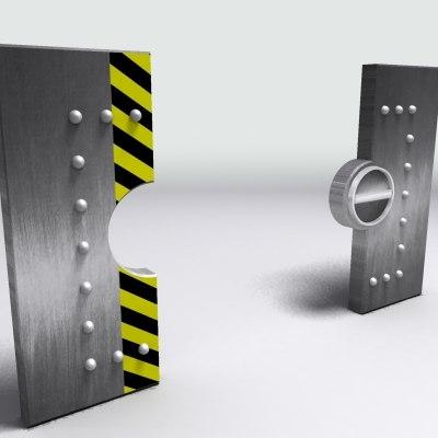 steel door locking 3d model