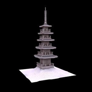 3d model pagoda shrine temple