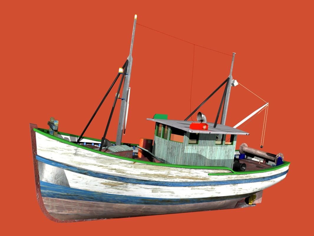 sawn fishing boat trawler 3d model
