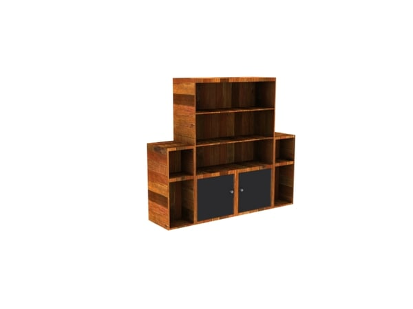 3ds bookcase cabinet extended shelving
