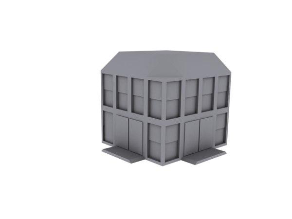 3d model corner building facade