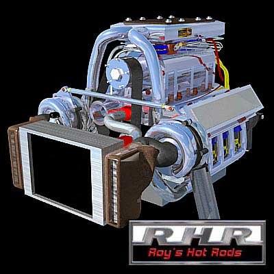 3d twin turbo motor model