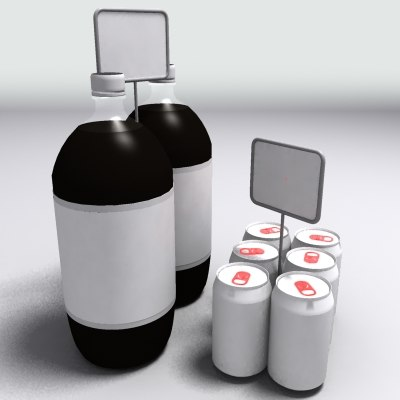 soda cans bottles 3d model