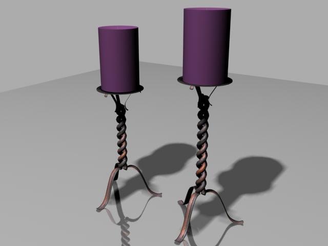home interior candlesticks candles 3d model