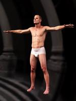 realistic male body scan 3d model