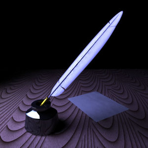 feather quill pen inkwell 3d ma