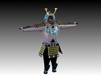 japanese warrior armor 3d model