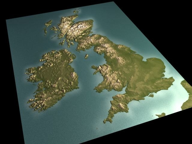 3d Relief Map Of Uk.Geog Uk Max