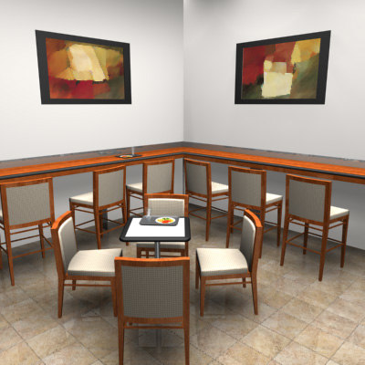 cafe chairs table 3d max