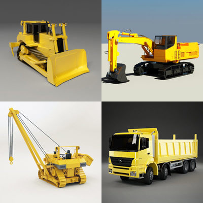hevy machines truck mixer 3d max