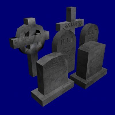 maya low-poly tombstones