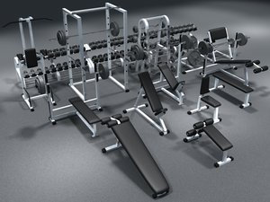 weight set dumbbells bench 3d model