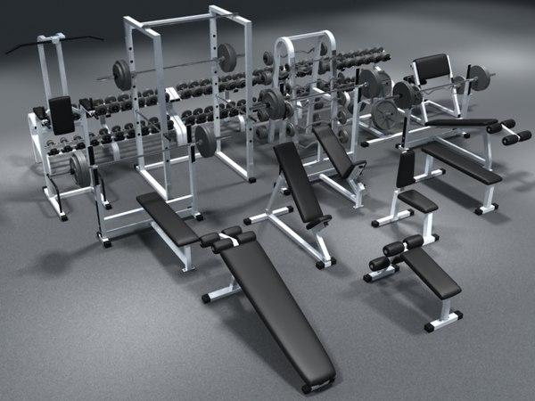 weight set dumbbells bench 3d model