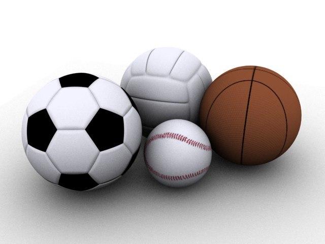 baseball basketball volleyball 3d model