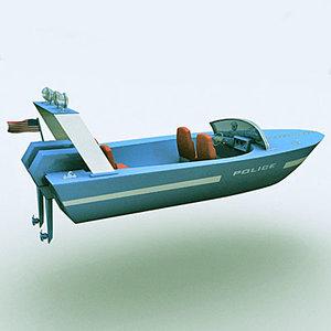 3d model police motorboat