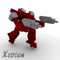 3d model low-poly mech