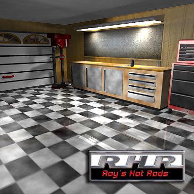 3d hot rod garage model