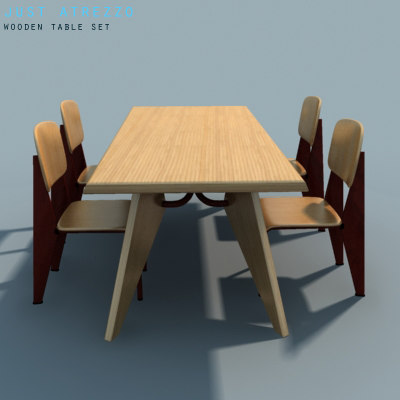 3ds wooden table