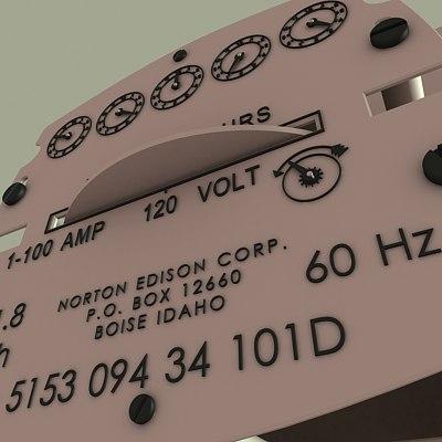 3d model electric meter