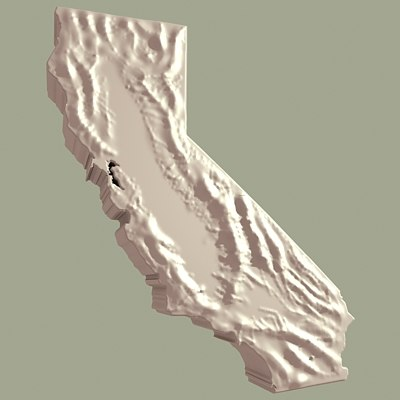 topographic california 3d model