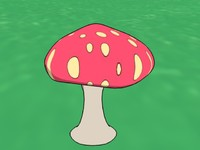 mushroom ink paint 3d model