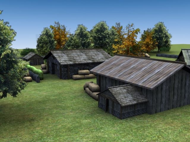 3d model farm barn hut