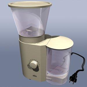 braun coffee grinder 3d model