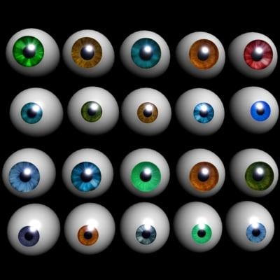 28 realistic eyes 3d model