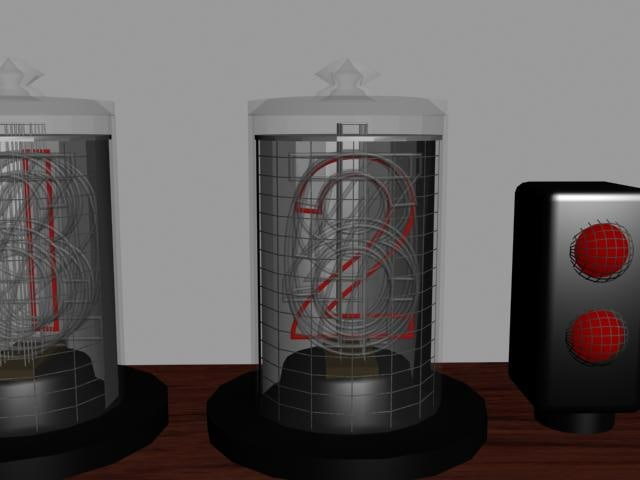nixie tube clock 3d model