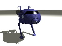 3d blue midget red walking model