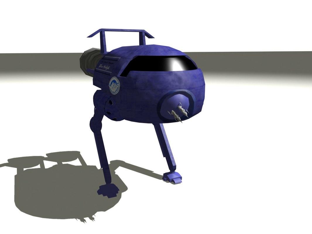 3d blue midget red walking model