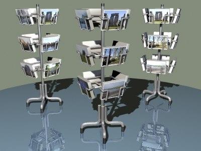 postcard rack 3d model