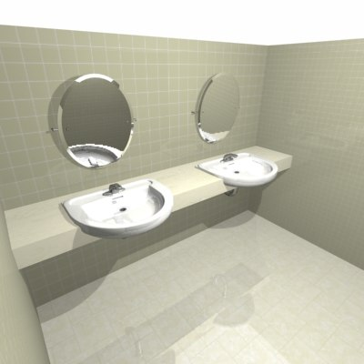 3d model washroom sinks 3