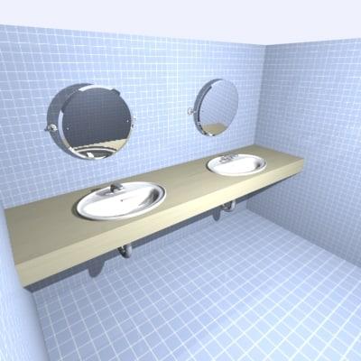 3d model washroom sinks