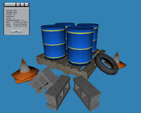 urban barrel caution 3d model