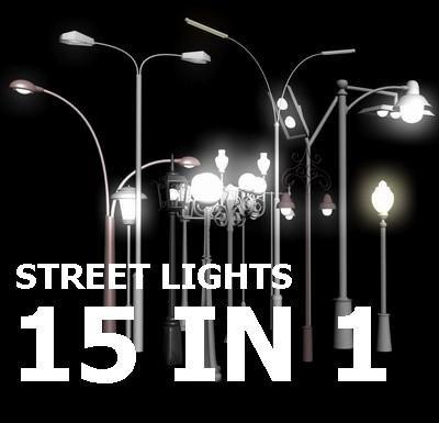 lights city streets 3d model