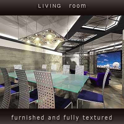 living room home furniture 3d model