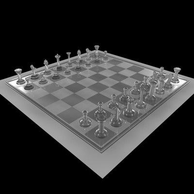 glass chessboard pieces 3d model