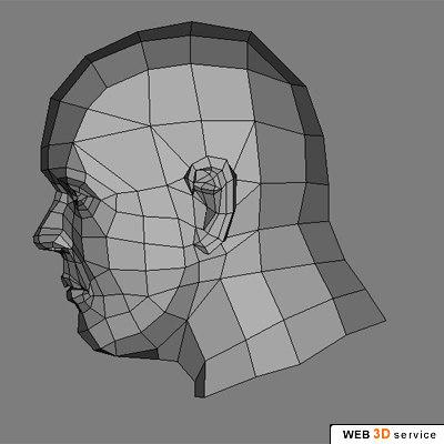 3d model male head 920 template