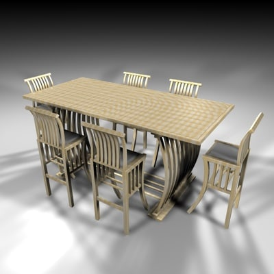 3d model dining chairs country