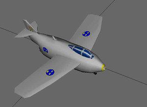 free swedish fighter saab gmax 3d model