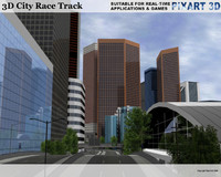 3D CITY Race Track - Low Polygon