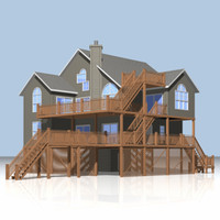 beach house architectural 3d model