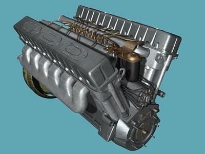 engine t-34 tank 3d model