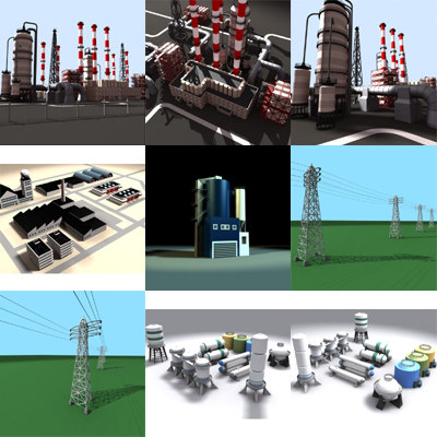 industrial chimneys 3d max