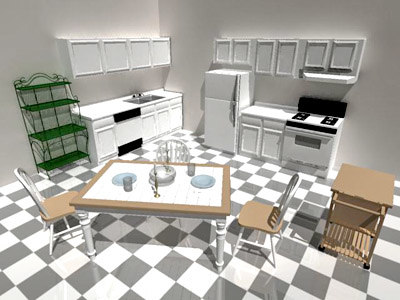 3d kitchen dining appliances model